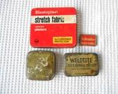 4 Advertising Tins Vintage Weldite Typewriter ribbon Plasters Tin