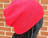Red Crochet Slouchy Beanie Hat Unisex. READY TO Ship