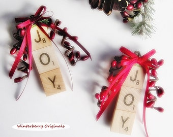 JOY Christmas Ornament - Scrabble Ornament - Stocking Stuffer, Package Tie-On, Co-Worker Gift