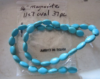 11x7 mm Flat Oval Turquoise Magnasite Beads, 37 piece
