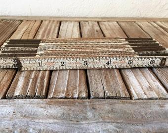 Vintage White Folding Wood Ruler