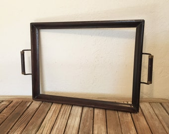 Vintage Wood Serving Tray with Handles