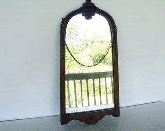 "28"" Antique Arched Mirror Decorative Wood Frame Carved Heavy"