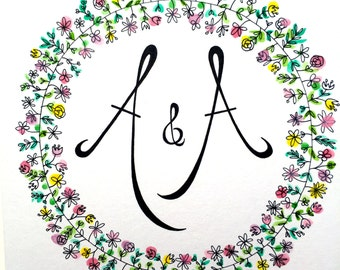 HAND ILLUSTRATED CARD - wedding card with initials.