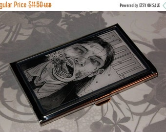 ON SALE Metal Business Card Holder made with Upcycled The Walking Dead Comic Book Artwork, Zombie