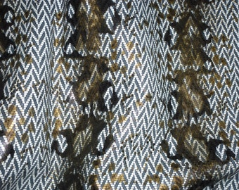 """Leather 12""""x12"""" Bronze White and Black Chevron water snake on Black Cowhide 3-3.5 oz / 1.2-1.4 mm PeggySueAlso™ LIMITED"""