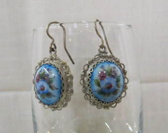 Vintage Enameled Earrings French Hooks Filagree Filigree Rostov Finift Flowers Floral