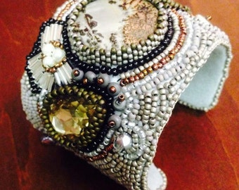 Forest beaded cuff