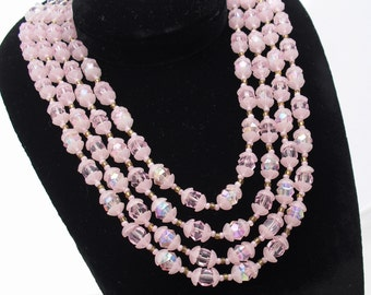 Vintage Western Germany Necklace - Lucite Beads - 1950s Four Strand Pink Choker