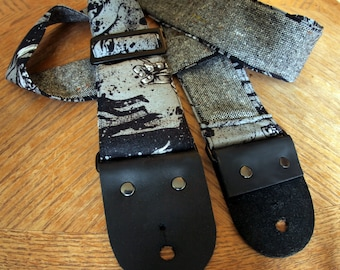 Guitar Strap - Gray and black Zombies with tweed backing, Leather Ends - Bass Strap, Instrument Strap, Guitar Strap, Horror Goth Punk Zombie