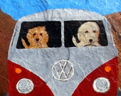 "Golden Doodle Art Print of an original oil painting, ""Road Rage"", Labrador Doodle, Dog Art,8x10,signed,VW,Bus"