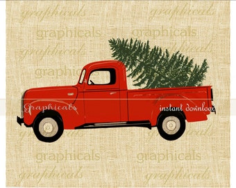 Christmas red truck Tree instant clip art digital download for iron on image transfer to fabric burlap tote pillow Decoupage Card No. 2274