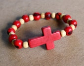 Side cross bracelet -  RED - Acai , Howlite Cross and Beige Beads-  Versatile, Stackable