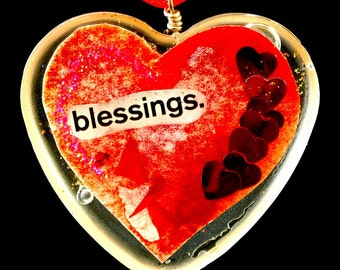 "Heart Shaped Epoxy Resin Pendant - ""Blessings"""