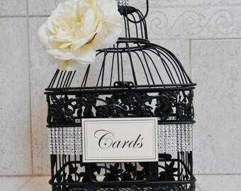 15% OFF SALE Small Bling Wedding Birdcage Card Holder / Wedding Card Box / Black Birdcage / Bling Wedding Decor / Wedding Card Holder / Cust