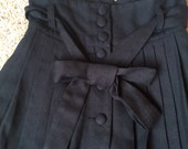 Black Pleated High-Waisted Button Bow Lace Pin-Up Skirt