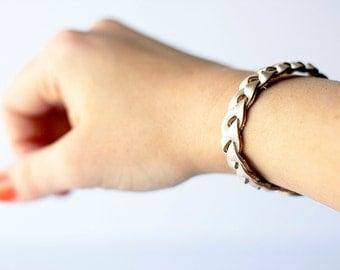 Braided Leather Bracelet / Platinum Metallic