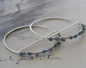 Blue Diamond Crescent Sterling Silver Hoop Earrings, Rough Diamonds, Modern, Minimalist Earrings