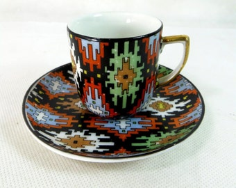 SALE! Art Deco Demitasse Duo, Czech EPIAG Jazzy Geometric Aztec Print Fine Porcelain China Coffee Cup & Saucer Set 1930s