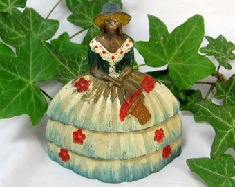 SALE! REDUCED Art Deco Shabby Chic Handpainted Enamel Crinoline Lady Brass Dinner Bell 1910-20s