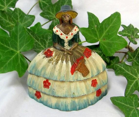 SALE! REDUCED Art Deco Shabby Chic Handpainted Enamel Crinoline Lady Brass Dinner Bell 1910-20s