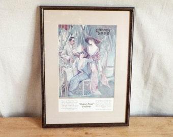 Victorian Framed Vintage Advertising Print, Unique Original Housewarming Gift Ideas, 100 years or older, Girls Powder Room Decor