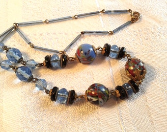 Art Deco Czech Glass Bead Necklace. Blue Splatter Glass.