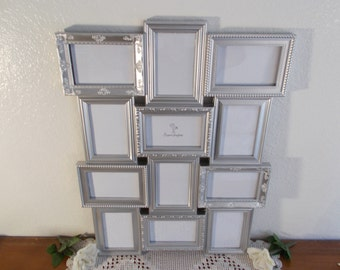 Metallic Silver Wedding Seating Chart Collage Frame Ornate Spring Summer Fall Winter Reception Centerpiece Hollywood Regency Home Decor Gift