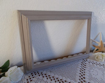 Grey Picture Frame Rustic Shabby Chic Distressed 8 x 12.5 Photo Decoration Beach Cottage Coastal Seaside Home Decor Birthday Gift Him Her