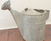 LARGE vintage galvanized watering can old garden decor decoration