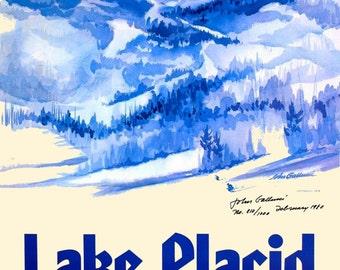 Lake Placid New York 1984 Winter Olympics Vintage Travel Advertisement Art Poster Print