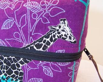 Giraffe   LunchBox, Purple Linen Bento box carrier, Lunch Cooler, Food Sack, Zippered Lunch BPA free lunch bag