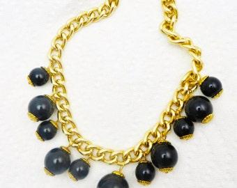 Black Fringe Necklace, Gold Chain Necklace, Vintage 1980's  Jewelry, Black Dangle Bead Necklace