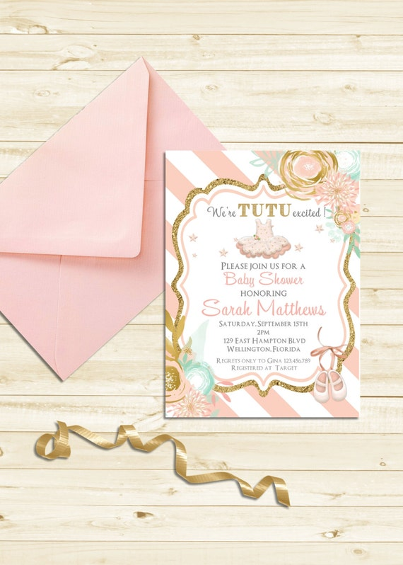 Gold Glitter Tutu Cute Baby Shower Invitation - Ballerina Ballet Girl Mint Pink Printable Invite