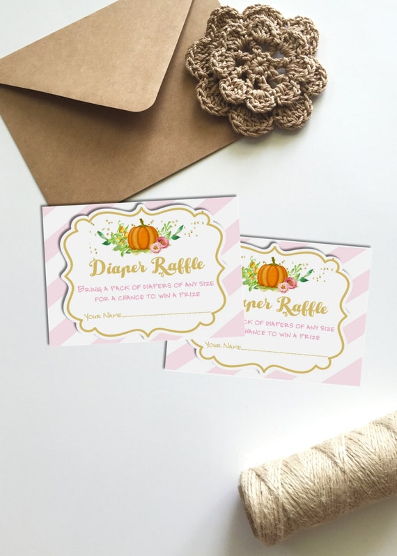 Pink Pumpkin Diaper Raffle Tickets for Baby Shower