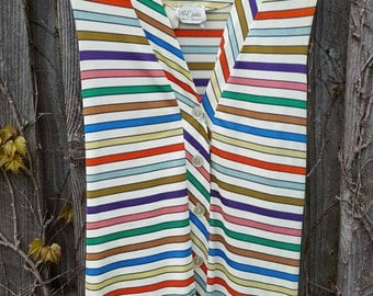 Vintage 1960's Striped Sleeveless Button Down Shirt, NPC Fashions