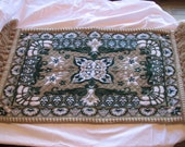 Set of 2 Luxurious Handwoven Green and Cream Colored Alpujarra Rugs (Moorish Covers)