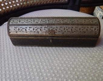 Pen/pencil box wood silver and goldtone metals Persian/European infulence