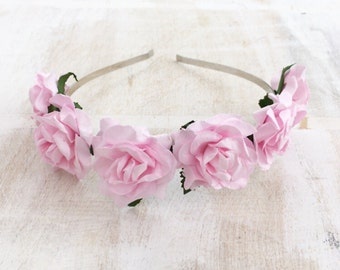 Pastel pink flower crown - goth fairy - flowers - floral headband - boho - flower girl - festival