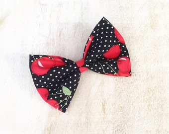 Rockabilly Pin up Black Polka Dot Cherry Print Hair Bow