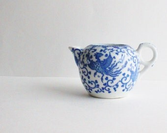 Chinoiserie blue and white creamer, dragon, japanese, vintage chinoiserie