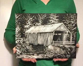 Campbell's Covered Bridge, Greenville, SC - Scratchboard Whimsical Art
