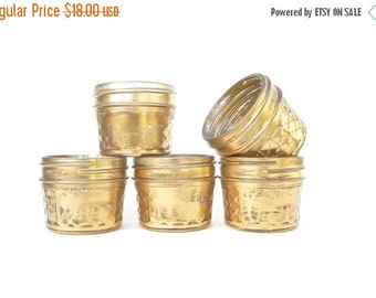 ON SALE Shabby Chic Gold Mason Jars, Quilted Mason Jars for Tea Light Holders, Small Vases, Wedding Favors,