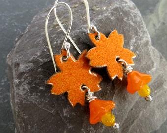 Enamel Flower Earrings, Bright Orange Earrings, Tropical Flowers, Enamel Jewelry, Torch Fired Enamel, Sterling Silver Ear Wires, UK Seller