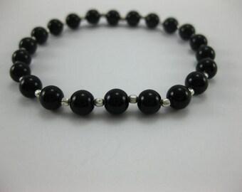 Black Jasper - Sterling Silver - Stretch Elastic Bracelet - 3141