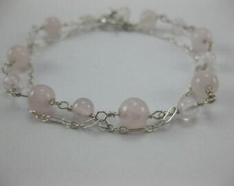 Rose Quartz - Sterling Silver Double Bracelet - 3043