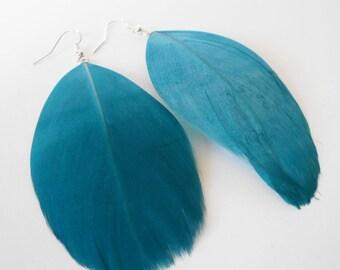 turquoise feather earrings, blue boho earrings, festival jewellery, drop earrings, bohemian jewelry, gift for her