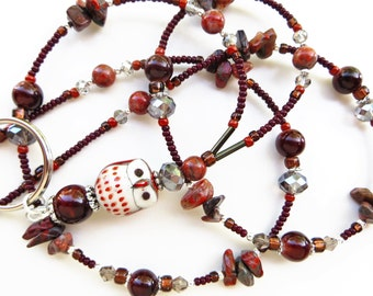 REDWOOD OWL- Beaded ID Lanyard- Porcelain Owl, Jasper Beads, Glass Pearls, and Sparkling Crystals (Magnetic Clasp)