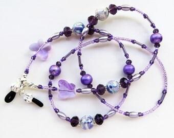 PURPLE  BUTTERFLIES- Handmade Beaded Eyeglass Lanyard/ Eyeglass Chain- Lucite Beads, Glass Pearls, Spectra Beads and Sparkling Crystals