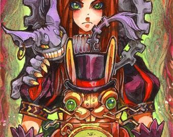 McGee Alice and BunnyBomb - Original Watercolor